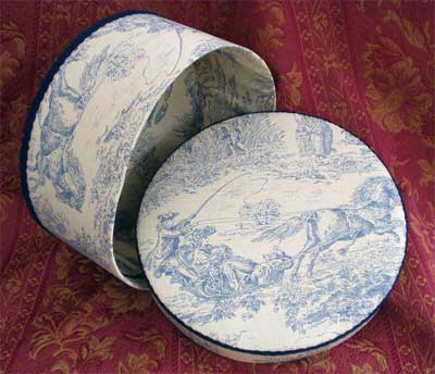 Hat Box Blue Toile Fabric Pb580