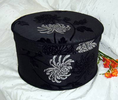 Hat Box Black Damask Flock Velvet Pb595