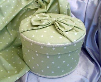 Large Round Hat Box Dotty Mint Green Fabric PB600
